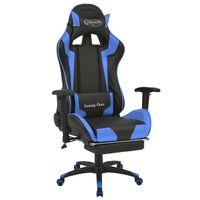 vidaXL võidusõiduistme disainiga kontoritool jalatoega, sinine