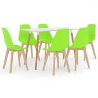 vidaXL 7 Piece Dining Set Green (287242+289130)