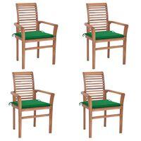 vidaXL söögitoolid, 4 tk, roheliste istmepatjadega, tiikpuu