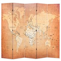 vidaXL kokkupandav sirm 200 x 170 cm, maailmakaart, kollane