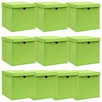 vidaXL hoiukastid kaantega 10 tk, roheline, 32 x 32 x 32 cm, kangas