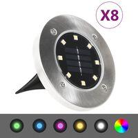 vidaXL päikesepatareidega maapinnavalgustid, 8 tk LED-tuledega, RGB