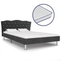 vidaXL voodi mäluvahust madratsiga, tumehall, kangast, 120 x 200 cm