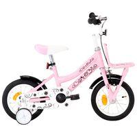vidaXL laste jalgratas esipakiraamiga, 12'', valge ja roosa