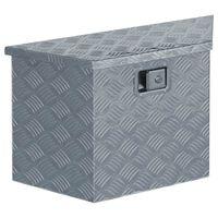 vidaXL alumiiniumist kast 70 x 24 x 42 cm, trapetsikujuline, hõbedane