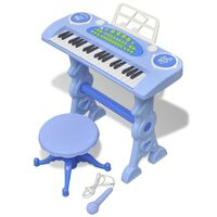 Laste mängusüntesaator tooli ja mikrofoniga, 37 klahvi, sinine
