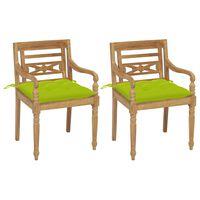 vidaXL Batavia toolid, 2 tk, erkroheliste istmepatjadega, tiikpuu