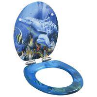 vidaXL WC prill-laud vaikselt sulguv, MDF, delfiinide disainiga