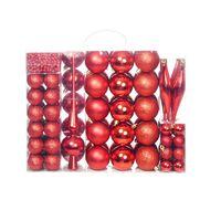 vidaXL 113-osaline jõulukuulide komplekt, 6 cm, punane