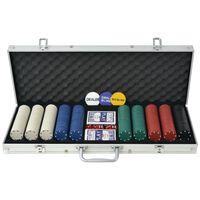 vidaXL 500 žetooniga pokkerikomplekt alumiiniumkohvris