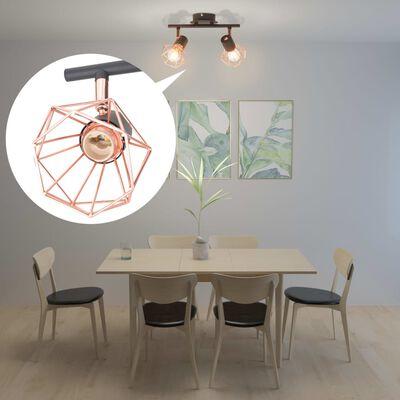 vidaXL laelamp 2 punktvalgustiga E14, must ja vaskne