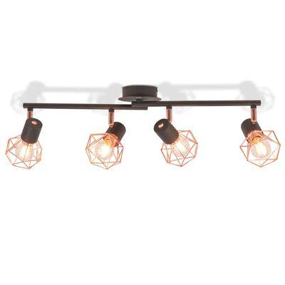 vidaXL laelamp 4 punktvalgustiga E14, must ja vaskne,