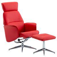 vidaXL allalastava seljatoega tool, jalapingiga punane, kunstnahk