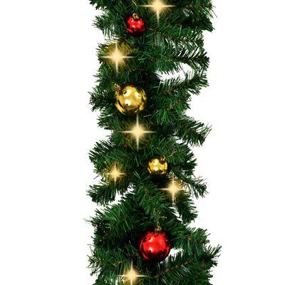 vidaXL jõulukuulide ja LED-tuledega kaunistatud jõuluvanik 5 m