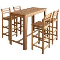 vidaXL baarilaua ja toolide komplekt, 5 osa, akaatsiapuit