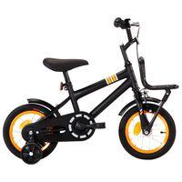 vidaXL laste jalgratas esipakiraamiga, 12'', must ja oranž