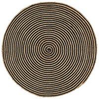 vidaXL käsitsi valmistatud džuutvaip spiraaldisainiga, must 120 cm
