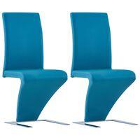 vidaXL söögitoolid siksaki kujuga 2 tk, sinine, kunstnahk