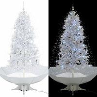 vidaXL lumesajuga jõulukuusk vihmavarjualusega valge 190 cm
