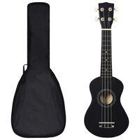 """vidaXL sopran ukulele komplekt kotiga lastele must 21"""""""