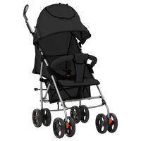 vidaXL kaks ühes kokkupandav lapsevanker/jalutuskäru, must, teras