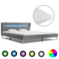 vidaXL voodi LEDi ja madratsiga, helehall kangas 160 x 200 cm