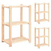 vidaXL 3-korruselised hoiuriiulid, 3 tk, 60x38x90 cm männipuit 150 kg