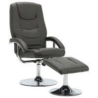 vidaXL allalastava seljatoega tool jalapingiga, hall, kunstnahk