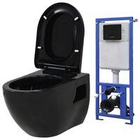 vidaXL seinale kinnituv WC-pott peidetud loputuskastiga, must
