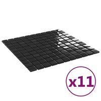 vidaXL isekinnituvad mosaiikplaadid 11 tk läikiv must, 30x30 cm klaas