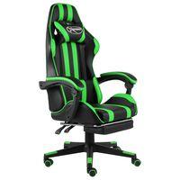 vidaXL võidusõidutool jalatoega, must ja roheline, kunstnahk