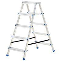 vidaXL alumiiniumist kahepoolne redel, 5 astet, 113 cm