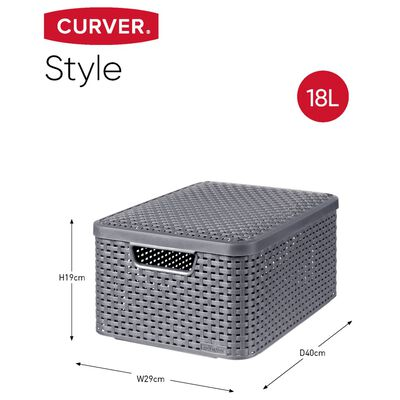"""Curver """"Style"""" hoiukastid kaanega 3 tk, suurus M, antratsiithall"""