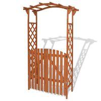 vidaXL väravaga aiakaar täispuidust, 120 x 60 x 205 cm