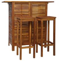 vidaXL 3-osaline baarilaua ja toolide komplekt, akaatsiapuit