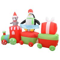 vidaXL täispumbatav pingviin ja hiir rongi peal, LED, IP44, 350 cm