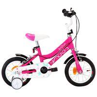 vidaXL laste jalgratas 12'', must ja roosa