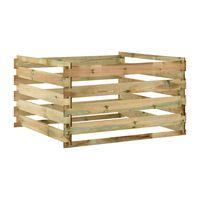 vidaXL liistudega kompostikast 120 x 120 x 70 cm, immutatud männipuit
