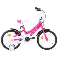 vidaXL laste jalgratas 16'', must ja roosa