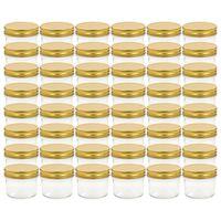 vidaXL kuldsete kaantega klaasist moosipurgid 48 tk, 110 ml