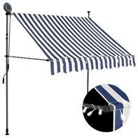 vidaXL käsitsi sissetõmmatav varikatus, LED, 200 cm, sinine ja valge