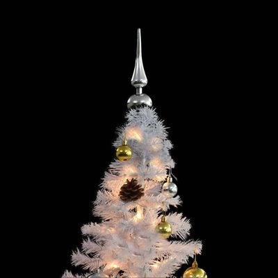 vidaXL ehete ja LED-tuledega kaunistatud kunstkuusk, 210 cm, valge