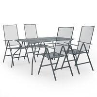 vidaXL 5-osaline aiamööbli söögikomplekt, teras, antratsiithall