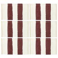 vidaXL lauamatid 6 tk Chindi triip, burgundiapunane ja valge 30x45 cm