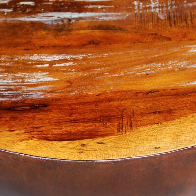 vidaXL kausikujulise terasest alusega kohvilaud, taastatud puit