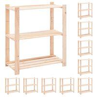 vidaXL 3-korruselised hoiuriiulid 10 tk, 80x38x90 cm männipuit 150 kg