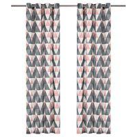 vidaXL kardinad metallrõngastega 2 tk puuvill 140 x 245 cm hall, roosa