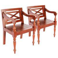 vidaXL bataavia toolid, 2 tk, tumepruun, mahagonipuit