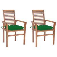vidaXL söögitoolid, 2 tk, roheliste istmepatjadega, tiikpuu