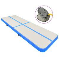 vidaXL täispumbatav võimlemismatt pumbaga 400x100x15 cm PVC sinine